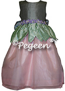 Flower Girl Dress 321 shown in Gray and Spring Green (l) and Ginger and Ivory (r)
