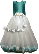Flower Girl Dress 331 shown in Oak w/White Organza (l) and Harvest Green w/Ivory Organza (r)
