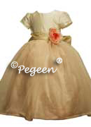 Flower Girl Dress with Organza and Single Rose