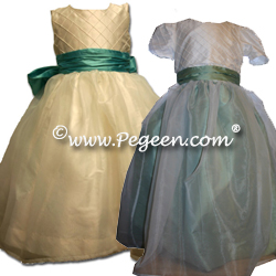 Ivory silk flower girl Dresses 307