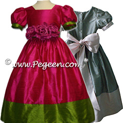 two tone silk flower girl dresses with 2 colors