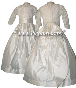 Regal Collection - Queen Silvia with Cotillion or Flower girl dress with Aloncon Lace covered decolletage neckline
