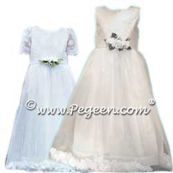 First Communion Dress with Tulle and Petals and Aloncon Lace Style 963