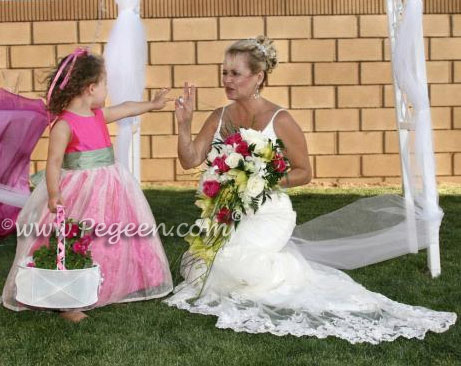 Shock (hot pink), Celadon and New Ivory Organza and Silk Custom Flower Girl Dress
