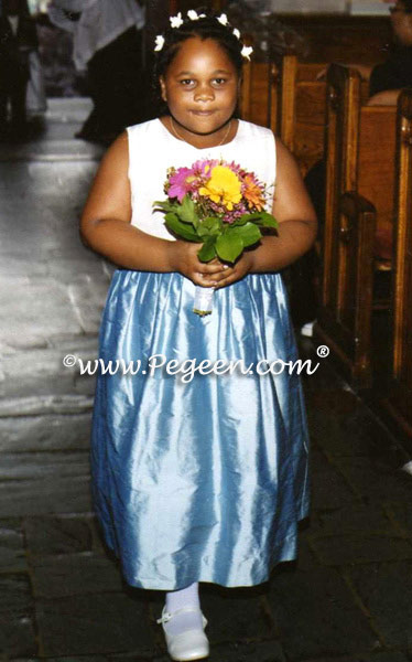 Denim Blue and Antique White Silk Plus Size Flower Girl Dress
