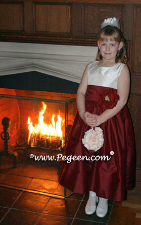 Ivory, burgundy red tulle flower girl dress