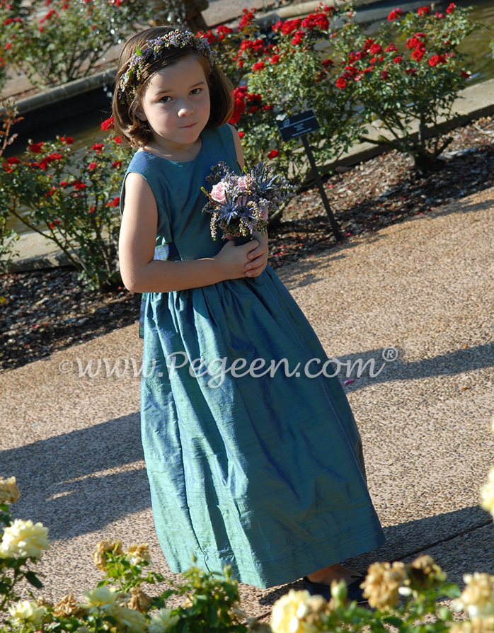 Hazel silk with plaid sash flower girl dress - Pegeen Classics Style 318