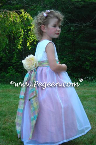 Plaid Trimmed Silk Ivory and Pink flower girl dresses Style 383