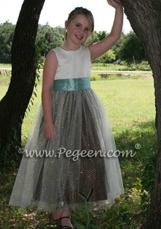 Semi Sweet chocolate and aqua junior bridesmaid dress