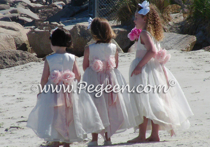 Ivory and pink beach themed weddings flower girl dresses