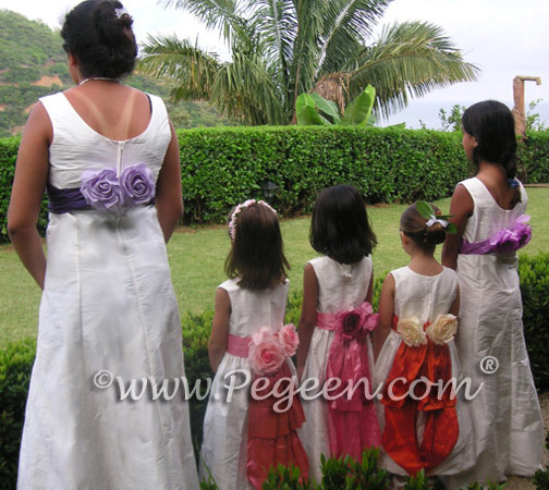 Multi color Flower Girl dresses and Jr Bridesmaids dresses on the beach wedding