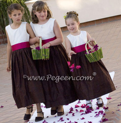 Chocolate and raspberry flower girl dresses