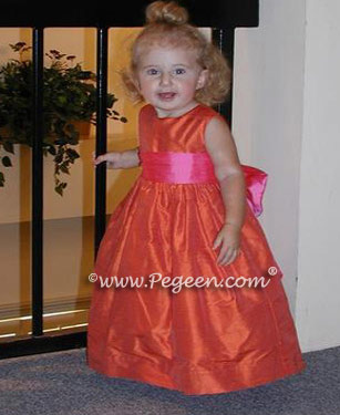 Flower girl dress in orange and shocking pink for a toddler