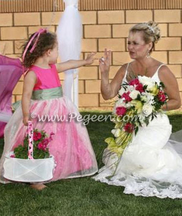 Shock hot pink and celedon green flower girl dress