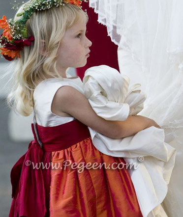 Mango and cranberry flower girl dress