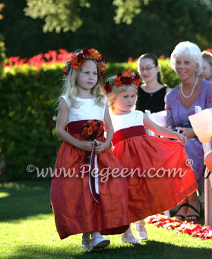 Cranberry red and mango orange flower girl dresses