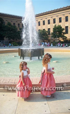 Flower Girl Dresses with back flowers in coral and taupe Style 383