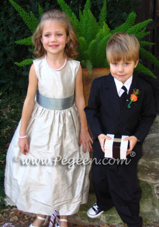 Jim Hjelm matching flower girl dress lagoon and fawn