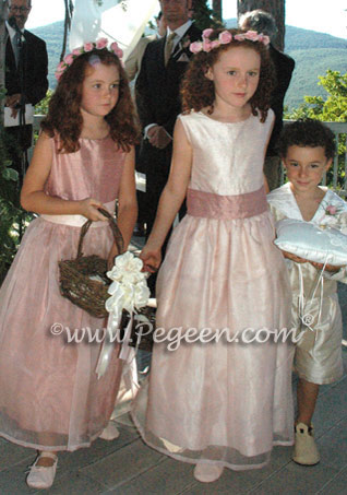 Blush pink and rum pink silk flower girl dress