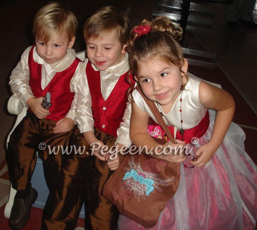 Cranberry and Chocolate matching ring bearer suits and flower girl dress