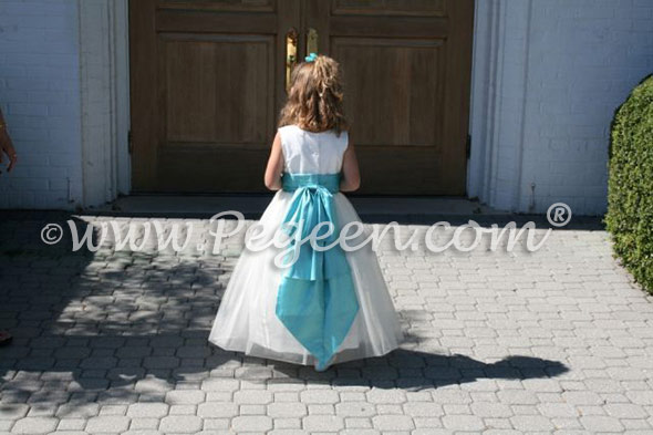 New Ivory and tiffany flower girl dress