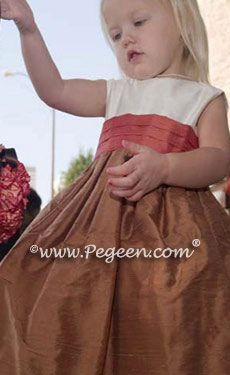 Ginger and Salmon Flame flower girl dress