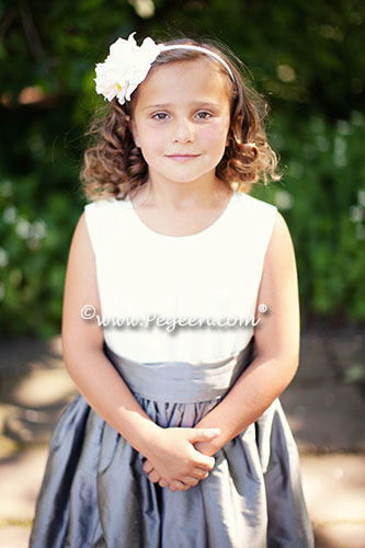 Gray and White Jr Bridesmaids or Flower Girl Dresses