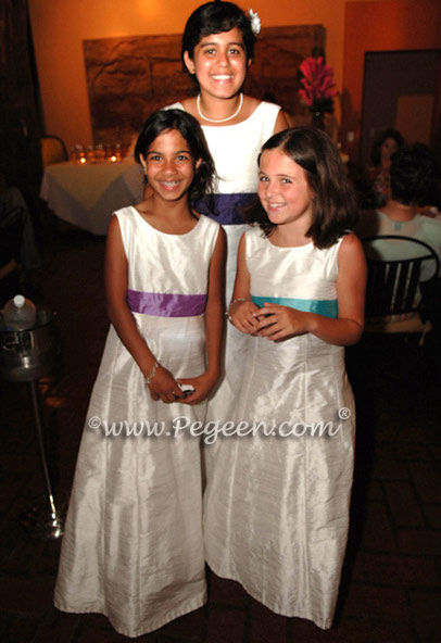 Pegeen style 320 Junior bridesmaids in multiple shades of silk for a colorful Costa Rica Wedding