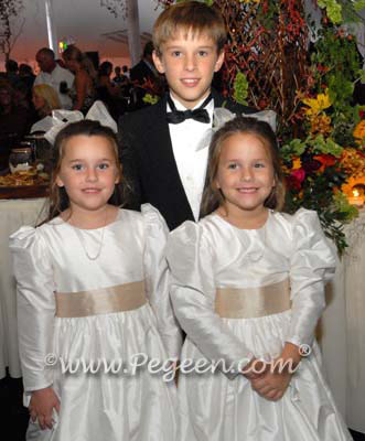 Flower Girl Dresses in Ivory and Champagne Style 398 with Long Sleeves