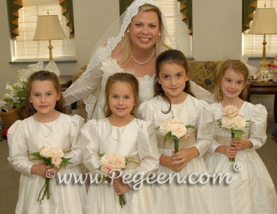 Flower Girl dresses in champagne and ivory dresses