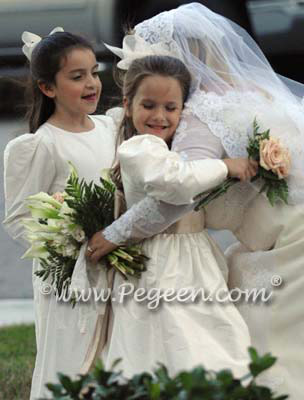 Ivory and gold silk flower girl dresses