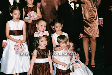 Chocolate and ivory flower girl dresses