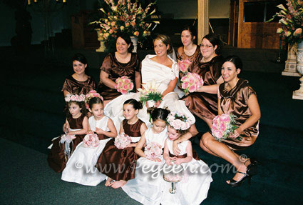 Flower Girl Dresses in Chocolate Brown and White Silk