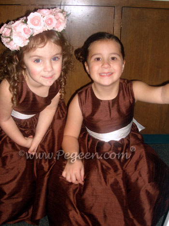 Flower Girl Dresses in Chocolate and Antique White in Style 345