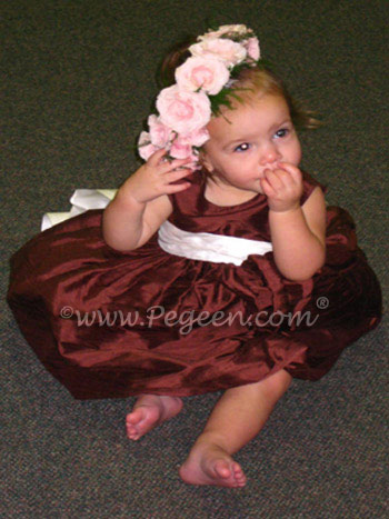 Pegeen Chocolate brown and ivory toddler flower girl dress