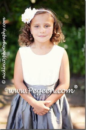 New Ivory and Medium Gray flower girl dress