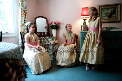Flower Girl Dresses in Wheat (light gold) and Watermelon pink Jr. Bridesmaids Dresses Pegeen Style 383