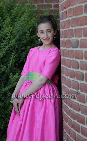 Cerise Pink and Lime Green Jr. Bridesmaids Dress, Bat Mitzvah Dress or  flower girl dress