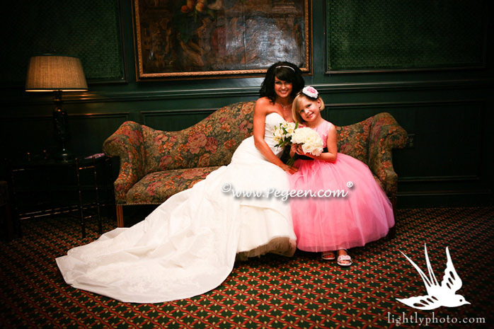 Bubblegum Pink, Black and Pink Tulle flower girl dresses with back roses on bustle - Pegeen Couture Style 402