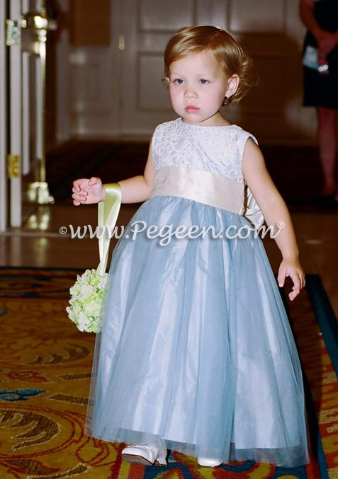 Flower Girl Dress in Cloud Blue Silk and Aloncon Lace | Pegeen
