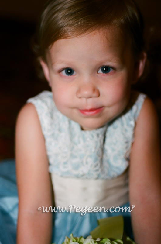 Cloud Blue and taupe Tulle flower girl dress