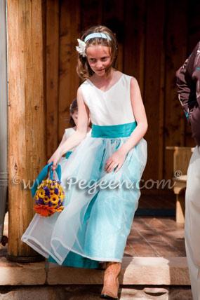 TURQUOISE AND IVORY CUSTOM FLOWER GIRL DRESSES