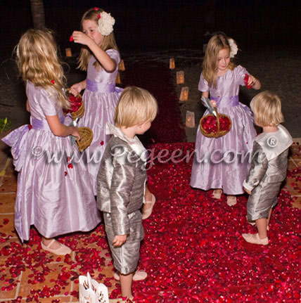 Silver gray ring bearer sailor suits with Lavender flower girl dress