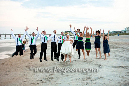 Green and navy flower girl dresses