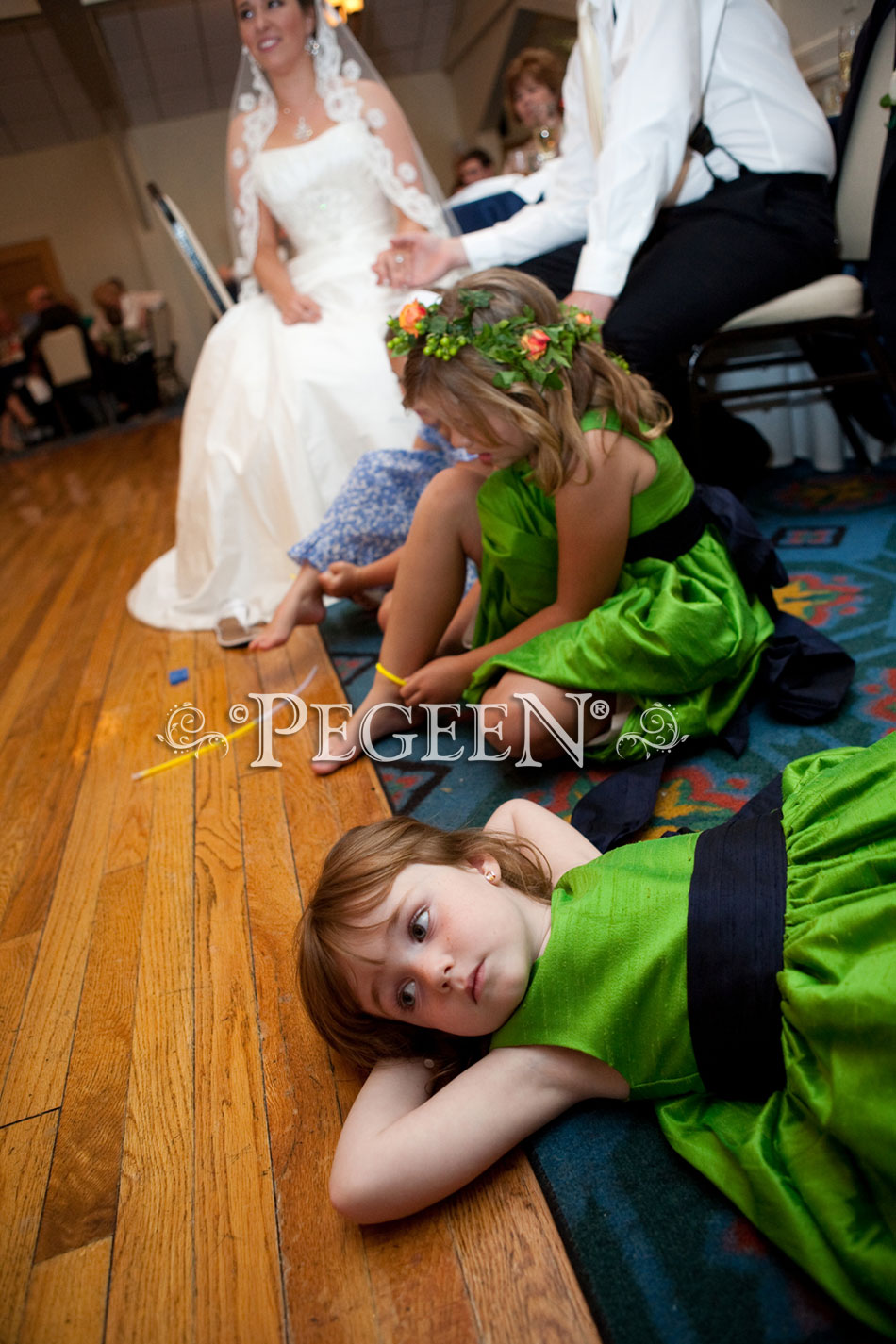 Key Lime and Midnight (green and navy) Silk flower girl dress