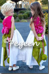 Flower Girl Dresses in Grass Green and Raspberry