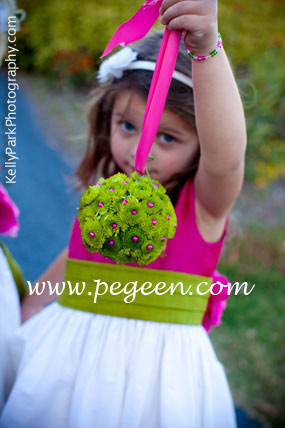Flower girl Dresses in Raspberry and Grass Green by Pegeen