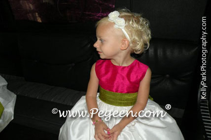 Ivory, Blue and Brown flower girl dresses