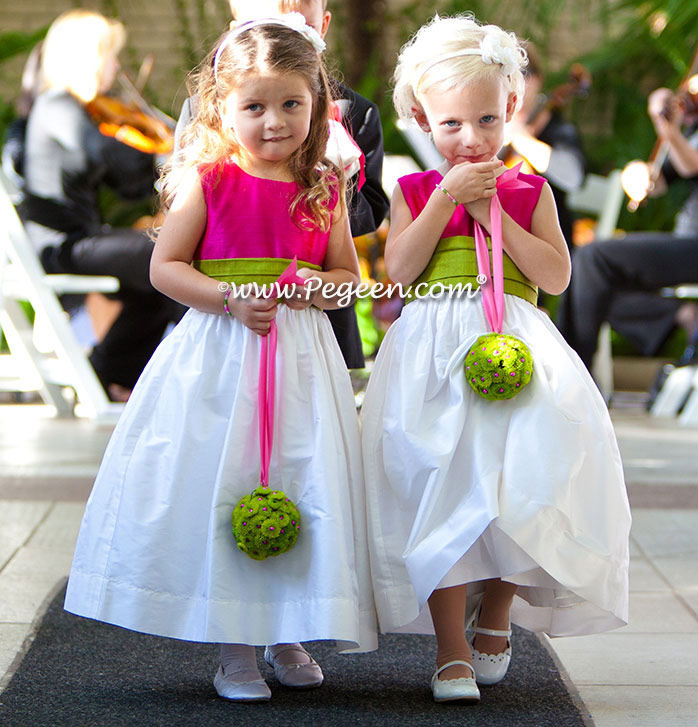 Boing hot pink and grass green flower girl dress