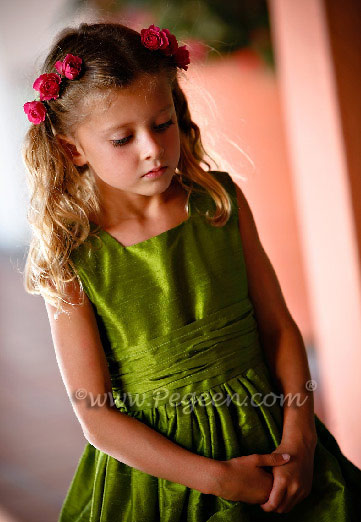 Custom silk flower girl dresses in grass green from the Classic Collection